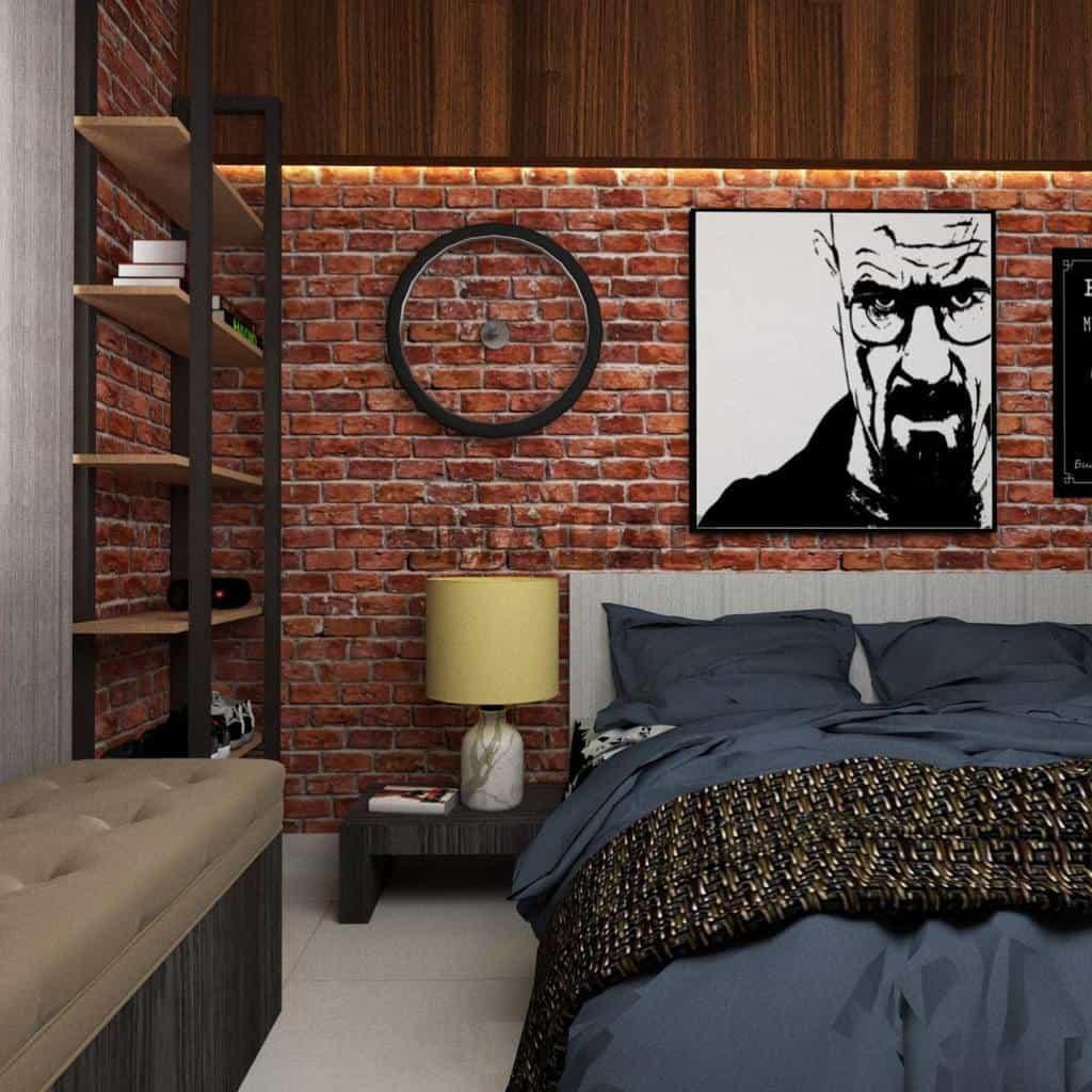 faux brick and panelling bedroom wallpaper ideas shahaddotin