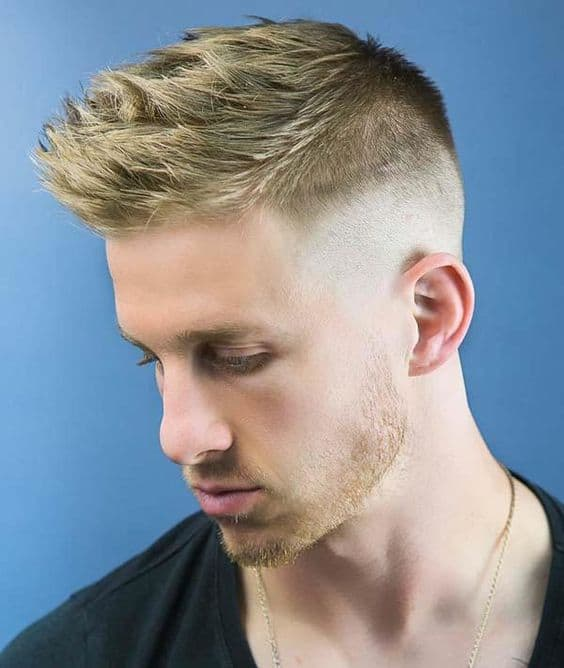 faux hawk bald fade with blond hair