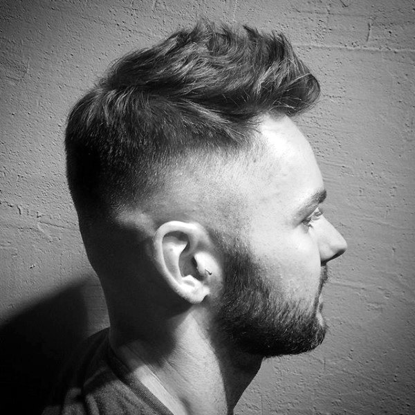 Faux Hawk Skin Fade Haircut For Men Short Length