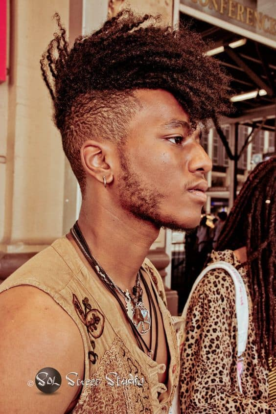 A modern Mohawk style with hair twists running from the front to the back and paired with very short hair on the sides