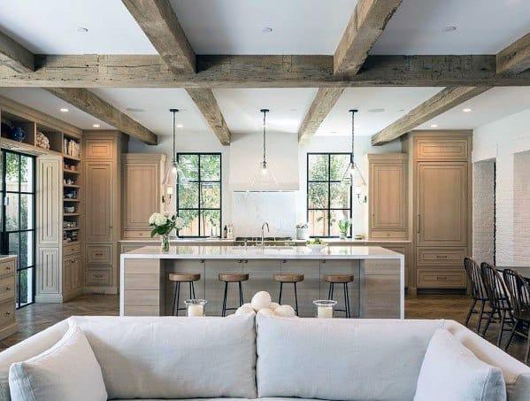 Faux Wood Beams Kitchen Ceiling Design Ideas