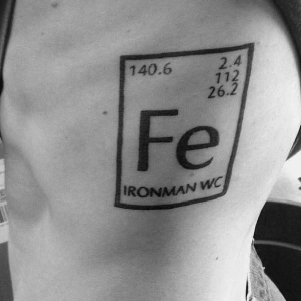 Fe Symbol Rib Cage Side Triathlon Ironman Tattoos For Guys