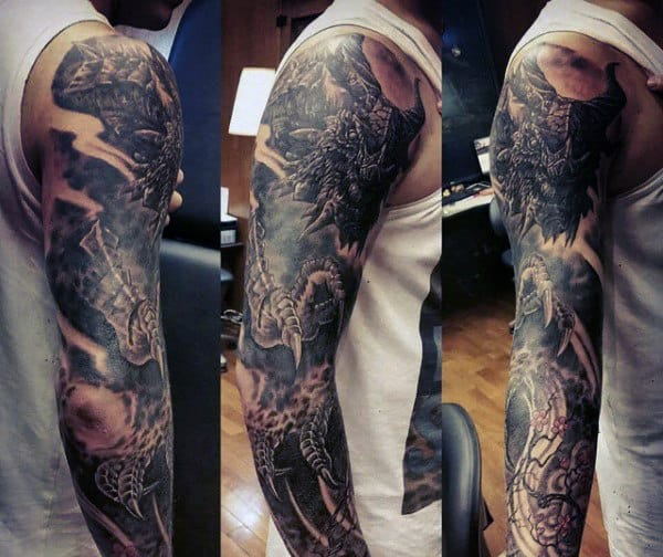Fearsome Black Dragon Tattoo Mens Sleeve