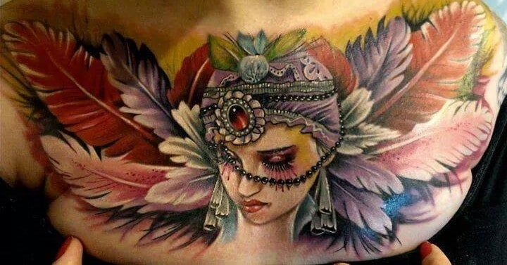 Feather Chest Gypsy Tattoo