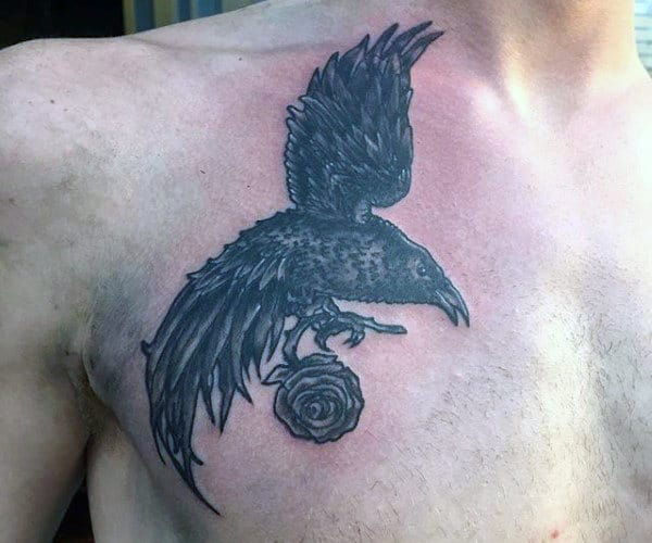 Feather Tattoo With Birds For Men