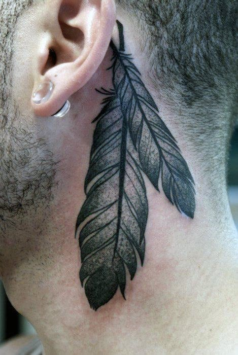 Feather Tattoos On Back Of Man's Neck