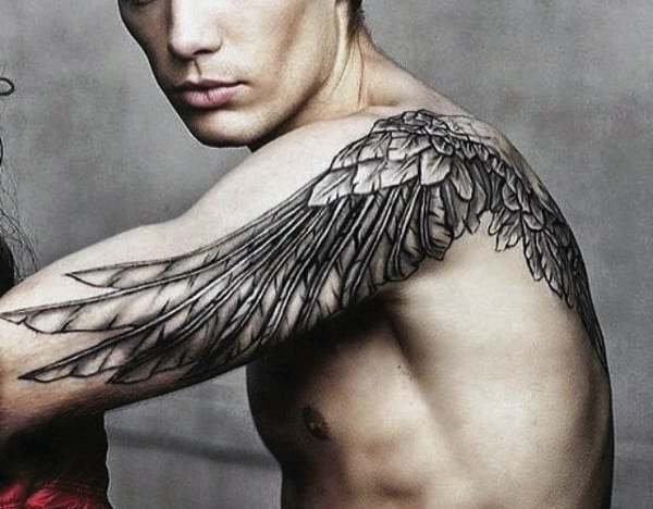 Feather Wings Mens Tattoo Across Shoulder And Upper Arm