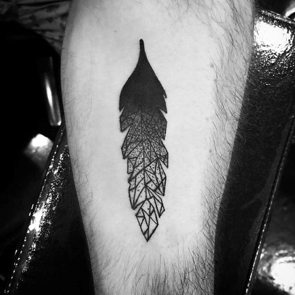 Feather With Crystal Design Guys Inner Forearm Tattoos