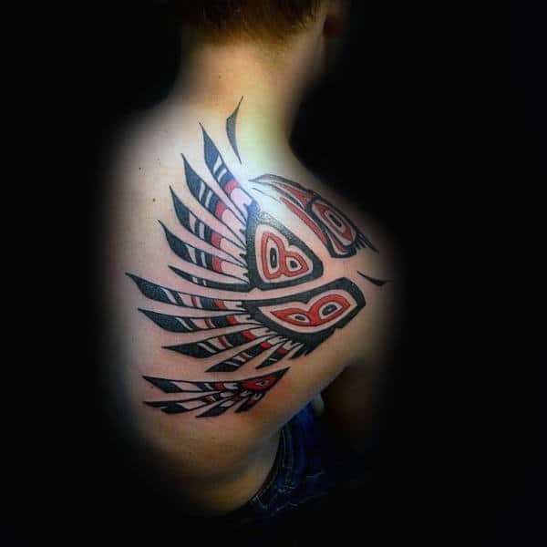 Feathered Haida Tattoo Male Shoulders