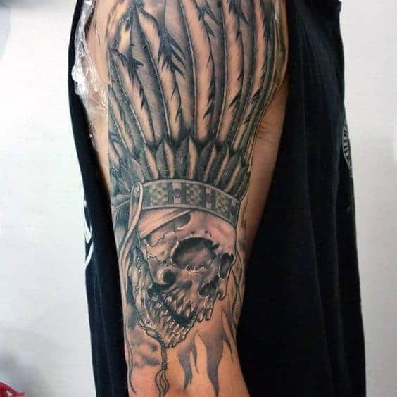Feathers Indian Skull Mens Arm Tattoo Ideas