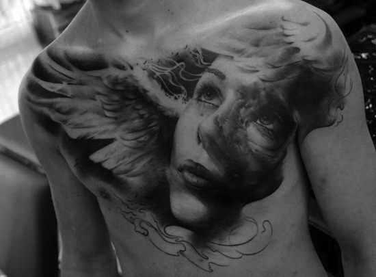 Female Face With Wings Chest Portrait Tattoos Male