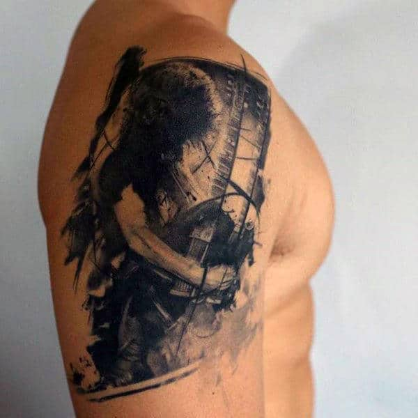 Female Figure Artistic Mens Upper Arm Tattoos