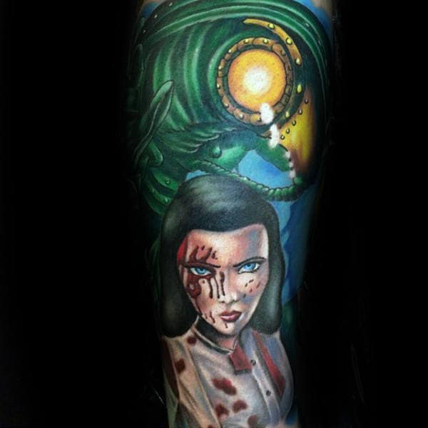 Female From Bioshock Mens Full Sleeve Tattoo Design