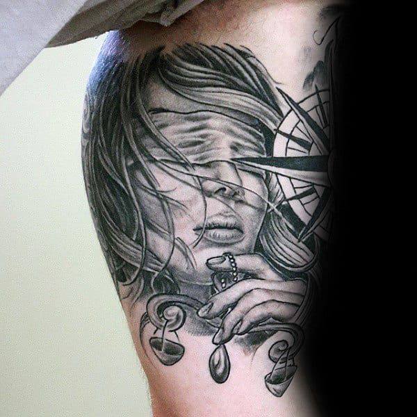 Female Holding Scale Mens Inner Arm Bicep Libra Tattoo Designs