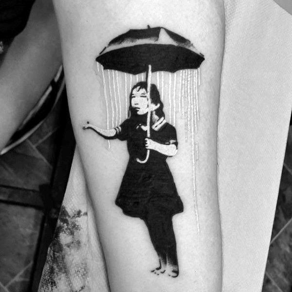 Female Holding Umbrella Mens Banksy Forearm Tattoo
