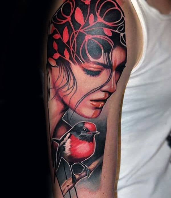Female Portrait Artistic Male Arm Tattoos