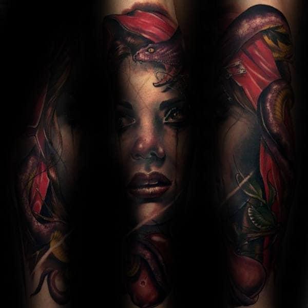 Female Portrait Guys Full Sleeve Tattoo With Snake Design