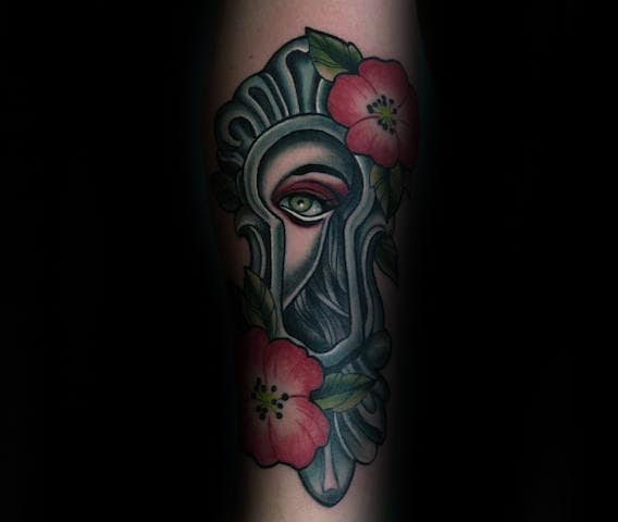 Female Portrait Inside Keyhole Forearm Tattoos For Men
