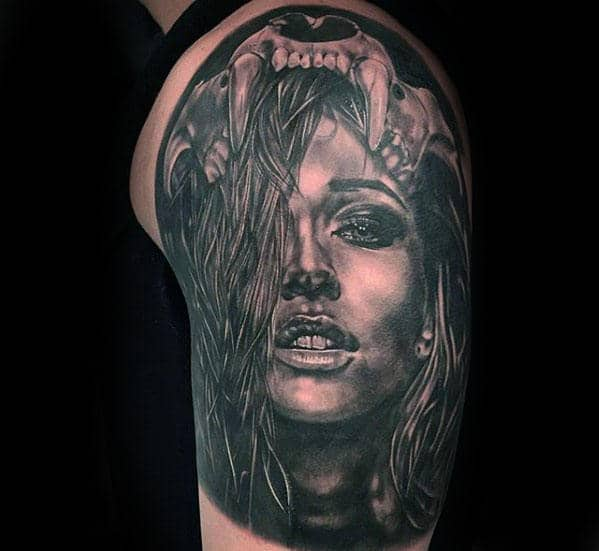 Female Portrait Lion Skull Half Sleeve Tattoos For Men