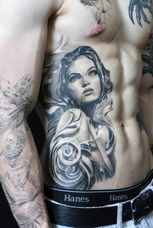 Female Portrait Male Filigree Rib Cage Side Tattoo