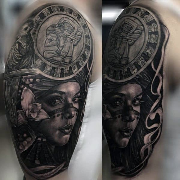 Female Portrait Male Mayan Half Sleeve Tattoos