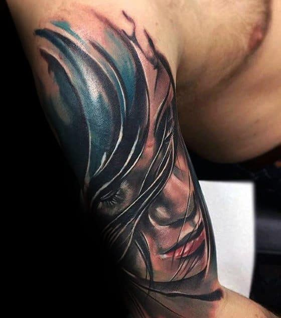 Female Portrait Mens Sleeve Tattoo Cover Up Ideas