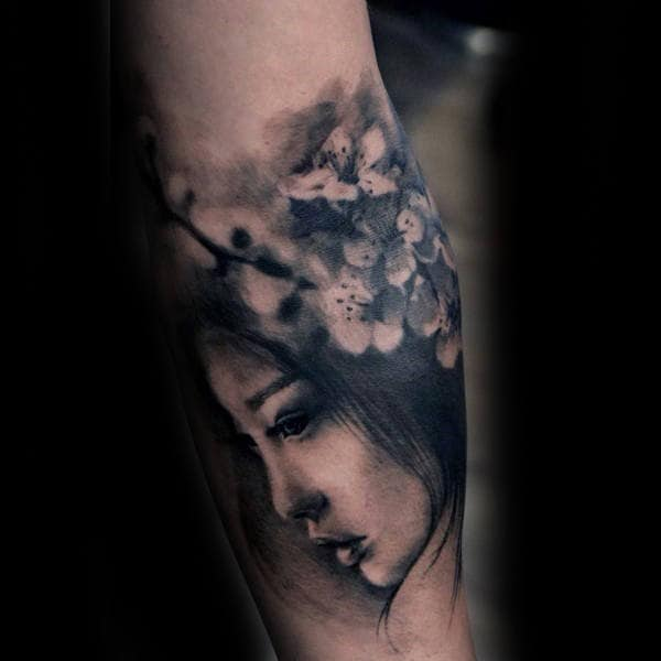 Female Portrait Realistic Shaded Cherry Blossom Tree Mens Forearm Tattoo