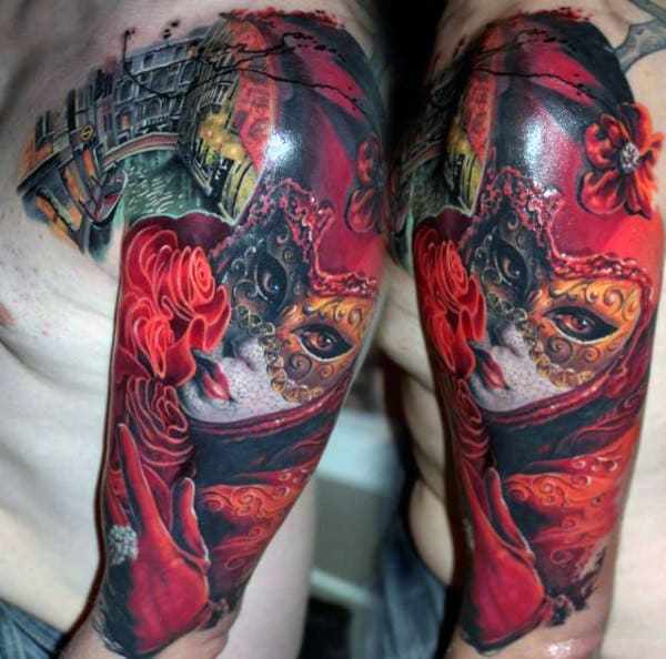 Female Portrait Red Ink Mens Half Sleeve Tattoo