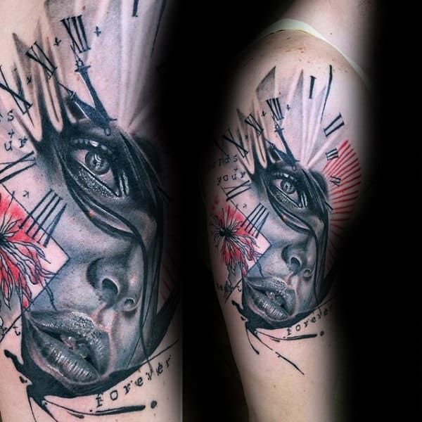 Female Portrait Trash Polka Mens Roman Numeral Clock Upper Arm Tattoo