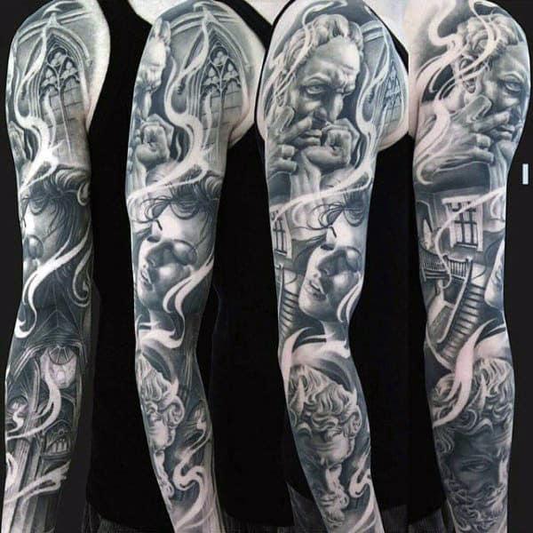 Female Portrait Unique Mens Full Sleeve Tattoo Ideas