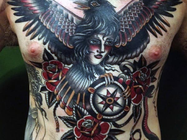 Female Portrait With Black Crow Male Traditional Compass Full Chest Tattoos
