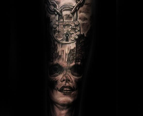 Female Portrait With Chained Lock Arm Tattoo For Guys