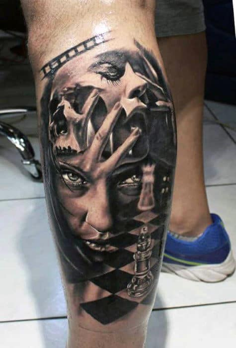Female Portrait With Chess Board Male 3d Leg Tattoo
