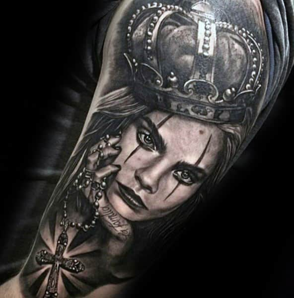 Female Portrait With Crown Rosary 3d Cross Mens Arm Tattoos