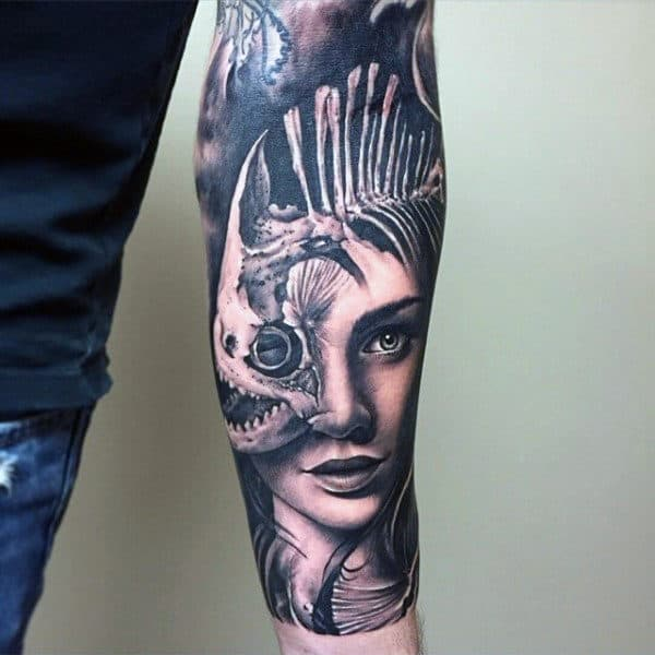 Female Portrait With Fish Bones Inner Forearm Guys Tattoos
