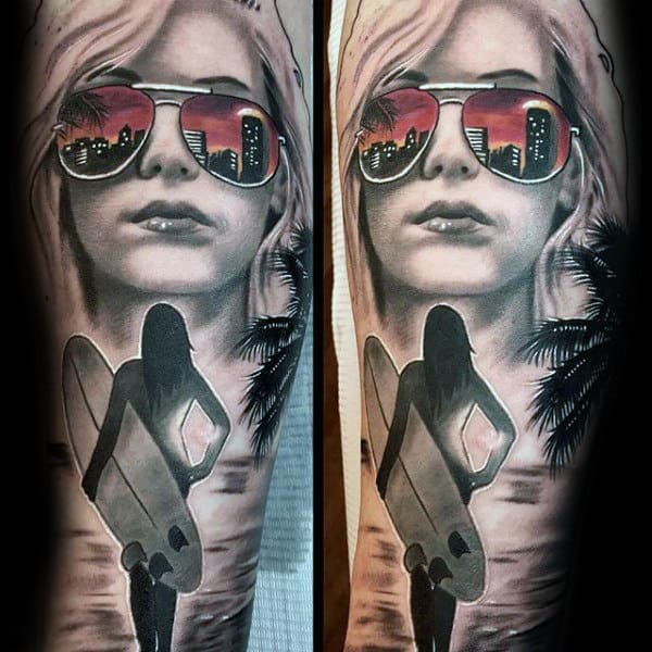 Female Portrait With Glasses Mens Half Sleeve Tattoo Designs