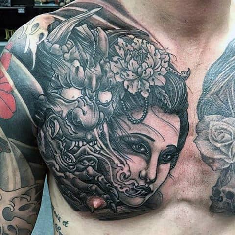 Female Portrait With Hannya Mask Mens Chest Tattoos