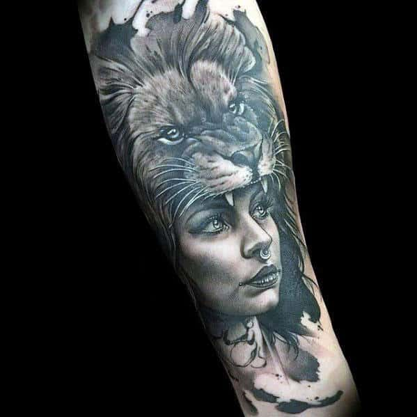 Female Portrait With Lion Hea Mens Realistic Inner Forearm Tattoos