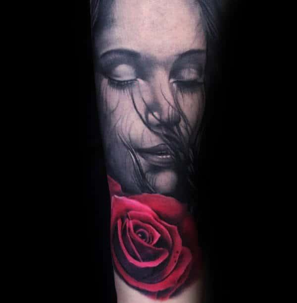 Female Portrait With Realistic Red Rose Flower Mens Forearm Sleeve Tattoos