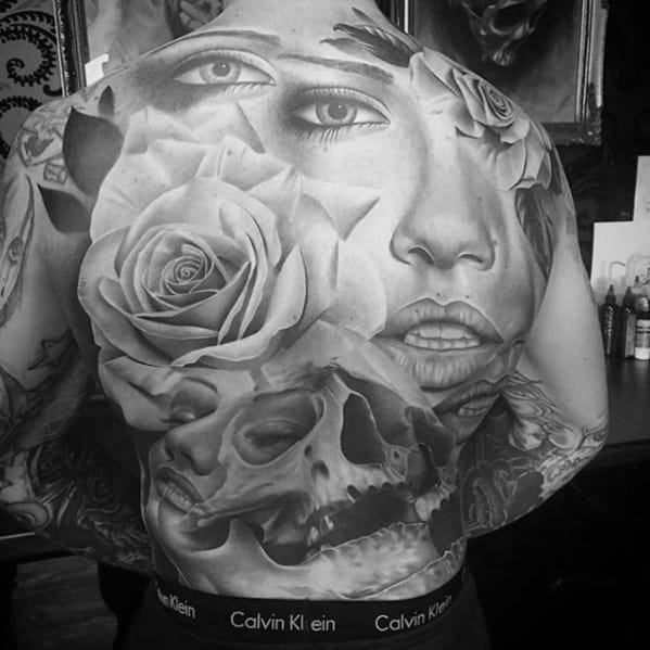 Female Portrait With Rose And Skull Different Full Back Tattoos For Guys