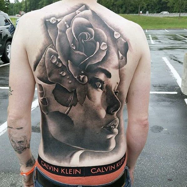 Female Portrait With Rose Flower Badass 3d Male Back Tattoos