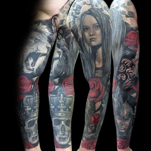 9bf639528b32b Female Portrait With Rose Skull And Lion Guys Sleeve Tattoos. Forearm  Sleeve Of Lion Mens Tattoo Designs