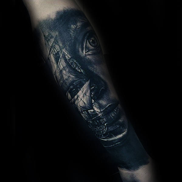 Female Portrait With Sailing Ship Guys 3d Forearm Tattoo