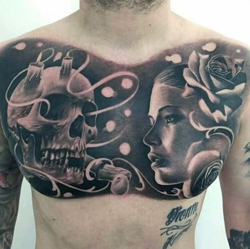 Female Portrait With Skull And Flowers Guys Badass Upper Chest Tattoo