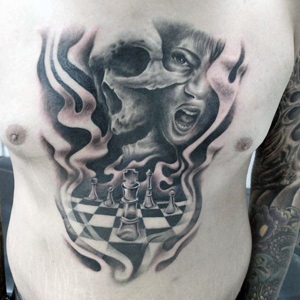 Female Portrait With Skull And King Chess Piece Guys Chest Tattoo Deisgn Ideas