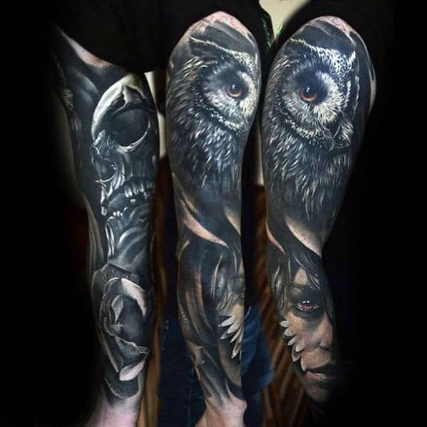 Female Portrait With Skull And Owl Guys Sleeve Tattoo Designs