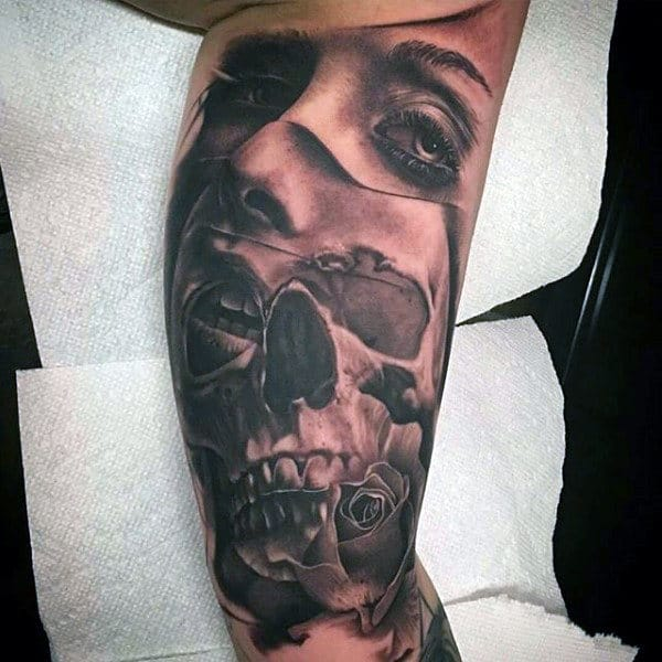 Female Portrait With Skull Inner Arm Male Tattoos