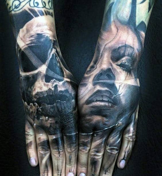 Female Portrait With Skull Mens Hand Tattoos