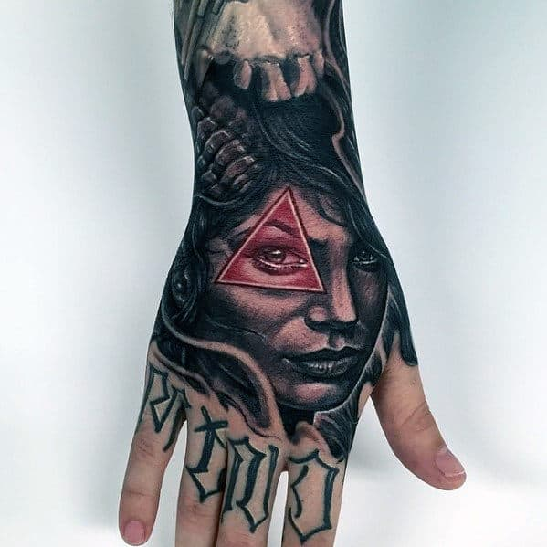 Female Portrait With Triangle In Red Ink Guys Badass Hand Tattoo