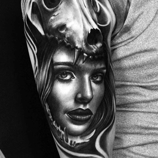 Female Portrait With Wolf Skull Realistic Sleeve Tattoos For Men